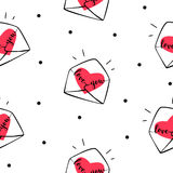 Bezszwowa deseniowa polki kropka z kopertami i sercami Pokrywa dla prezent tkaniny na walentynki ` s dniu i opakowania Zdjęcie Stock