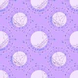 Bezszwowa deseniowa purpurowa natal astrologiczna mapa, zodiaka znak Obraz Stock