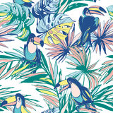 Bezszwowa deseniowa ręka rysujący atrament palmy Tropikalni liście, kwiaty, ptaki royalty ilustracja