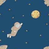 Bezszwowa deseniowa tło przestrzeń Kreskówka astronauta wektor Obrazy Royalty Free