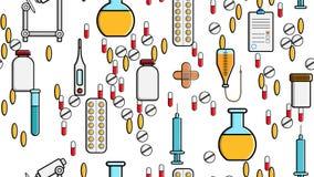 Bezszwowa deseniowa tekstura medycyn rzeczy ikon chujów pigułek pipet stetoskopów narzędzi kolb doktorskie kapsuły konserwuje str ilustracji