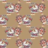 Bezszwowa deseniowa tkanina z niezwykłym plemiennym zwierzęciem Zdjęcie Royalty Free