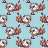 Bezszwowa deseniowa tkanina z niezwykłym plemiennym zwierzęciem Obrazy Stock