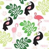 Bezszwowa flaminga raju wzoru wektoru ilustracja Obrazy Stock