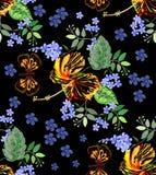 Bezszwowa grafika, poślubników kwiaty z motylem, i zapominamy ja nie kwiaty na czarnym tle, wektorowy ilustracyjny piękny cir royalty ilustracja