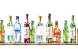 Bezszwowa granica szampan, ajerówka, koniak, wino, piwo i szkło, royalty ilustracja