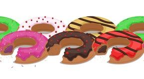 Bezszwowa granica z gryźć donuts w pył i glazerunek ilustracja wektor