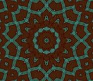 Bezszwowa gwiazdowa ornamentu ciemnego brązu zieleń ześrodkowywająca Zdjęcia Stock