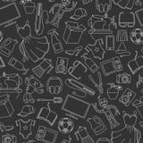 Bezszwowa ilustracja na różnorodność produktach i zakupy, proste zakup ikony, światło kontury na ciemnym tle royalty ilustracja