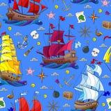 Bezszwowa ilustracja na temacie denna podróż, żaglówki i statku sprzęt na błękitnym tle, ilustracji