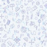 Bezszwowa ilustracja na temacie geografii lekcja przy szkołą, błękit konturowe ikony Obrazy Royalty Free