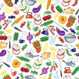Bezszwowa ilustracja na temacie karmowe i kuchenne rzeczy Zdjęcia Royalty Free