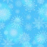 Bezszwowa ilustracja na temacie kontur płatek śniegu, raca, i, biali płatki śniegu na bl Obraz Royalty Free