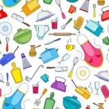 Bezszwowa ilustracja na temacie kucharstwa i kuchni naczynia, proste malować ikony na białym tle Zdjęcia Royalty Free