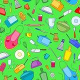 Bezszwowa ilustracja na temacie kucharstwa i kuchni naczynia, proste malować ikony na zielonym tle Zdjęcia Stock