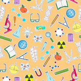 Bezszwowa ilustracja na temacie nauka, wymyślenia, diagramy, mapy i wyposażenie, proste łat ikony na pomarańczowym backgr royalty ilustracja