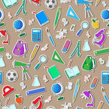 Bezszwowa ilustracja na temacie początek rok szkolny w szkole średniej Zdjęcie Stock