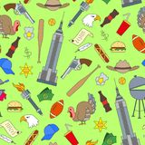 Bezszwowa ilustracja na temacie podróż w kraju Ameryka, proste malować ikony na zielonym tle Zdjęcie Royalty Free