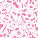 Bezszwowa ilustracja na temacie podróż w kraju Francja, proste ikony, różowe sylwetki ikony na backgroun Zdjęcie Royalty Free
