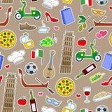 Bezszwowa ilustracja na temacie podróż w kraju Włochy, proste barwione ikon łaty na brown tle Zdjęcie Royalty Free