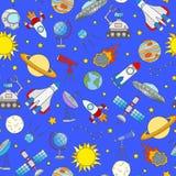 Bezszwowa ilustracja na temacie przestrzeń i podróż kosmiczna barwimy ikony na błękitnym tle Zdjęcia Royalty Free