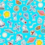 Bezszwowa ilustracja na temacie przestrzeń i podróż kosmiczna kolor łatamy ikony na błękitnym tle Zdjęcia Stock