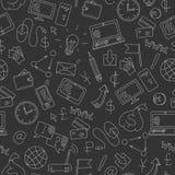 Bezszwowa ilustracja na temacie przychody w internecie, biel konturowe ikony na ciemnym tle Fotografia Stock