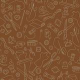 Bezszwowa ilustracja na temacie szyć i dziać, jaskrawy kontur na brown tle Obrazy Stock
