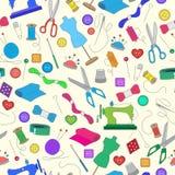 Bezszwowa ilustracja na temacie szyć i dziać, kolor ikony na lekkim tle Zdjęcia Royalty Free