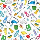 Bezszwowa ilustracja na temacie wyposażenie i cleaning produkty cleaning i gospodarstwa domowego, kolor ikony na białym tle Zdjęcia Royalty Free