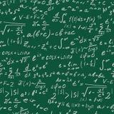 Bezszwowa ilustracja na temat dokładnej nauki z formułami i symbolami, bielu kontur na zielonym tle Fotografia Royalty Free
