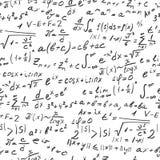 Bezszwowa ilustracja na temat dokładnej nauki z formułami i symbolami, ciemny kontur na białym tle Obrazy Stock