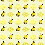 Bezszwowa ilustracja pszczoły z honeycombs, bezszwowy wzór Zdjęcia Royalty Free