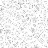 Bezszwowa ilustracja temat physics, ciemny kontur na białym tle Obraz Royalty Free