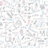 Bezszwowa ilustracja tematu mathematics, imitacja barwioni markiery Fotografia Stock