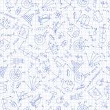 Bezszwowa ilustracja w nauce physics przy szkołą, pociągany ręcznie ikony na tle w klatce Fotografia Stock