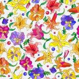 Bezszwowa ilustracja z abstraktem kwitnie leluje i pansies Fotografia Royalty Free