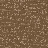 Bezszwowa ilustracja z formułami i symbolami na temat dokładnych nauk, beżowy kontur na brown tle Obrazy Royalty Free
