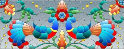 Bezszwowa ilustracja z parą abstrakcjonistyczni ptaki, kwiaty i wzory na popielatym tle, horyzontalny wizerunek royalty ilustracja