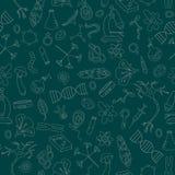 Bezszwowa ilustracja z prostymi ikonami na temacie biologia jaskrawy kontur Fotografia Royalty Free