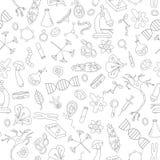 Bezszwowa ilustracja z prostymi ikonami na temacie biologia zmroku kontur Fotografia Royalty Free