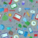 Bezszwowa ilustracja z prostymi kolorowymi ikonami na temacie zarabiać online Zdjęcie Stock