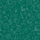 Bezszwowa ilustracja z prostymi konturowymi ikonami na temacie biznes i technologia Zdjęcie Stock