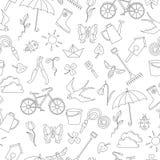 Bezszwowa ilustracja z prostymi konturowymi ikonami na temacie wiosna, ciemny kontur na białym tle Obrazy Stock
