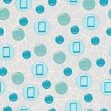 Bezszwowa ilustracja z telefonami komórkowymi, proste kolorowe ikony Fotografia Stock