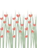 Bezszwowa ilustracja zielona trawa z sercami royalty ilustracja