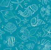 Bezszwowa intarsja denne istoty, korale i skorupy, Fotografia Royalty Free