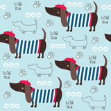 Bezszwowa jamnika psa wzoru wektoru ilustracja Zdjęcia Royalty Free
