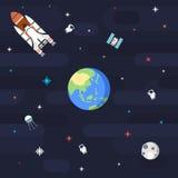 Bezszwowa kosmosu wzoru planety ziemia w mieszkanie stylu Obraz Stock