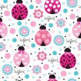 Bezszwowa ladybird wzoru wektoru ilustracja Fotografia Stock